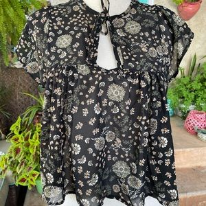 Cute Don't Ask Why Sheer Black Green Floral Top OS
